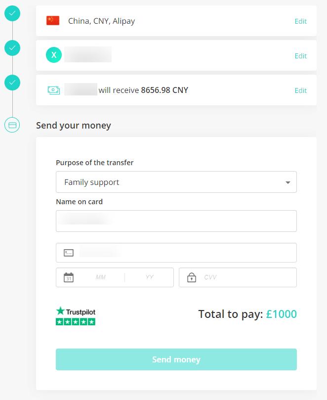 azimo填写付款账号信息