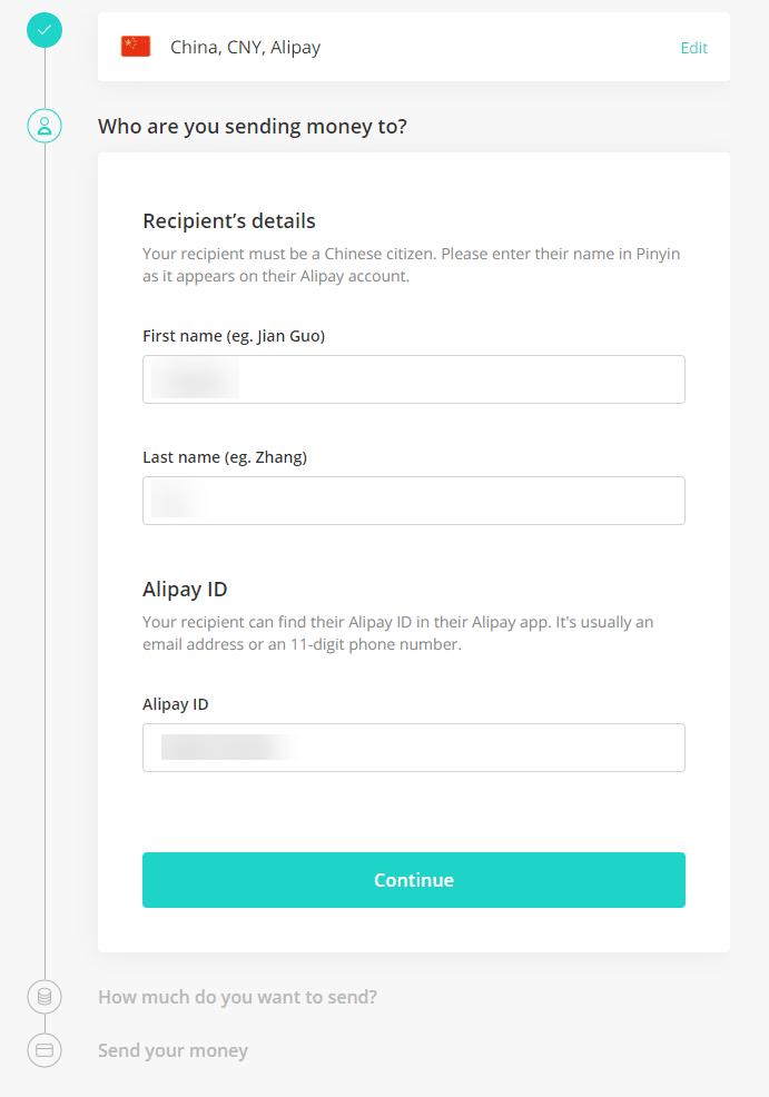 azimo填写收款人信息