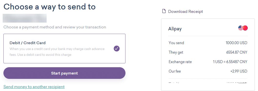 worldremit选择付款方式