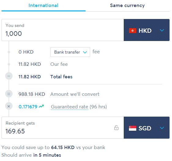 transferwise香港汇款到新加坡