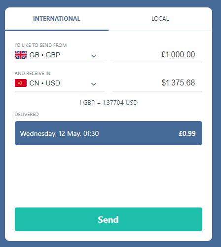 transfergo英镑汇美金到中国